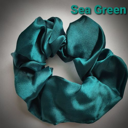 Sea Green Satin Scrunchie